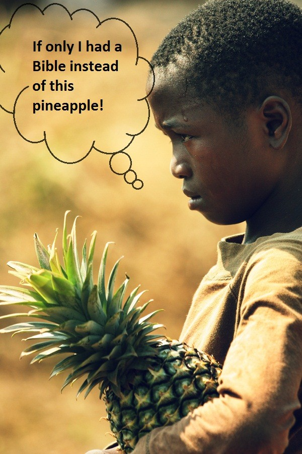 A boy carries a pineapple